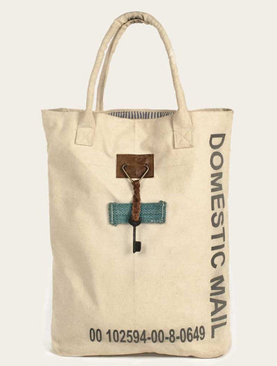 domestic mail canvas tote, tote bag, - Barn Owl Primitives, vintage wood signs, typography decor,