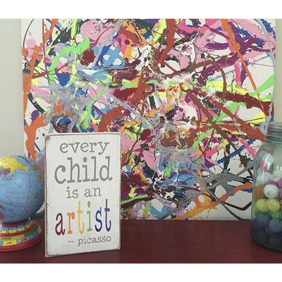 every child is an artist - small plaque, sign, Barn Owl Primitives, home decor, vintage inspired decor
