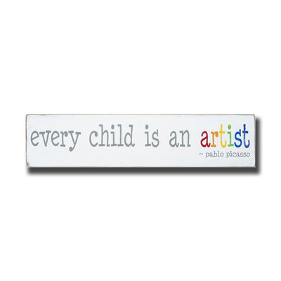 every child is an artist, sign, - Barn Owl Primitives, vintage wood signs, typography decor,