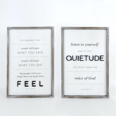 Feel Quietude Tall Maya Reversible Sign