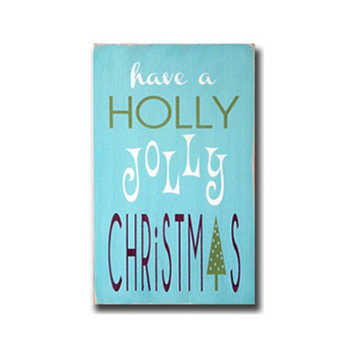a holly jolly christmas, sign, Barn Owl Primitives, home decor, vintage inspired decor