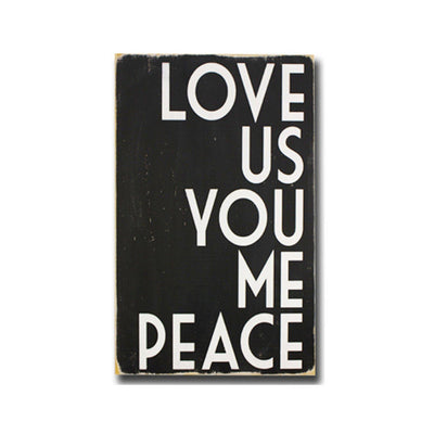 love us you me peace, sign, - Barn Owl Primitives, vintage wood signs, typography decor,