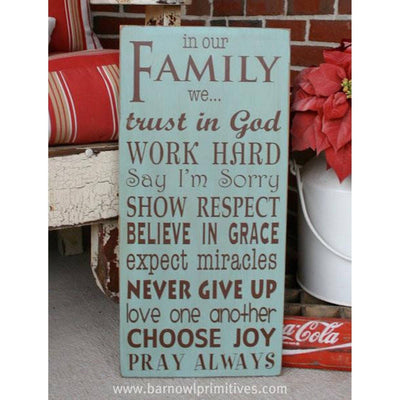 family rules - in our family we, sign, - Barn Owl Primitives, vintage wood signs, typography decor,