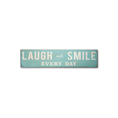 laugh and smile, sign, - Barn Owl Primitives, vintage wood signs, typography decor,