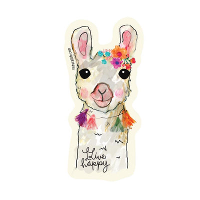 Live Happy Llama Sticker