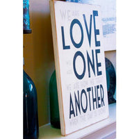 love one another, sign, - Barn Owl Primitives, vintage wood signs, typography decor,