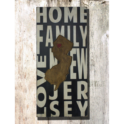 New Jersey, sign, - Barn Owl Primitives, vintage wood signs, typography decor,