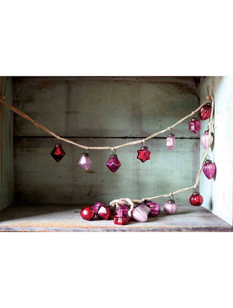 vintage inspired mercury glass ornament garland - Barn Owl Primitives  - 1