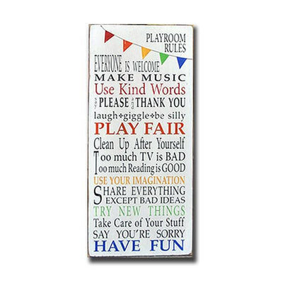 playroom rules bunting, sign, - Barn Owl Primitives, vintage wood signs, typography decor,