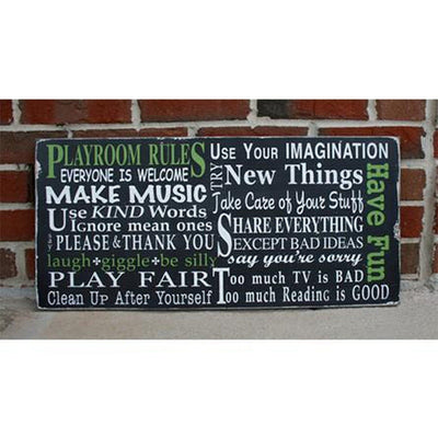 playroom rules landscape, sign, - Barn Owl Primitives, vintage wood signs, typography decor,
