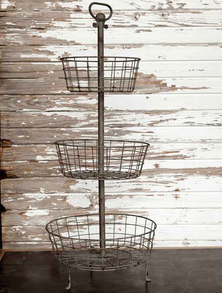Farmhouse Three Tier Wire Basket Display, Farmhouse Kitchen Decor, Barn Owl Primitives