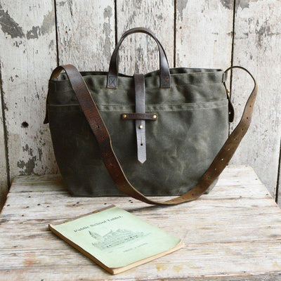 The Traveler - Moss Waxed Canvas Tote