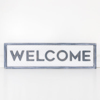Welcome with Herringbone Reversible Sign