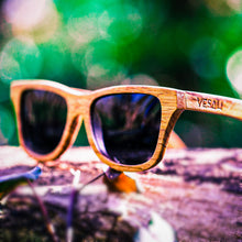 Load image into Gallery viewer, Yesah Zebra Wayfarer Wooden Sunglasses