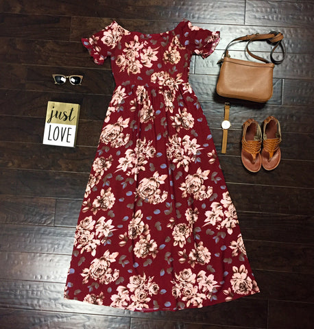 Yesah Long Floral Red Dress - Yesah