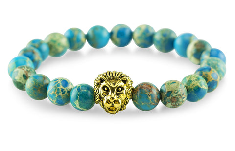 Gold Plated Lion Emperor Blue Bracelet - Yesah