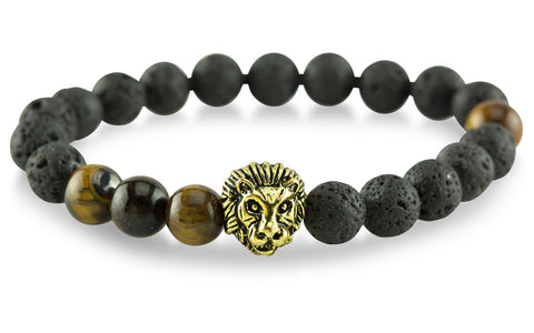Gold Plated Lion Lava/Tiger Eye Bracelet - Yesah