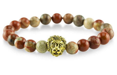 Gold Plated Lion Red Bracelet - Yesah