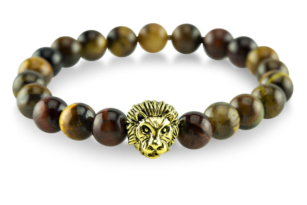Gold Plated Lion Mixed Tiger Eye Bracelet - Yesah