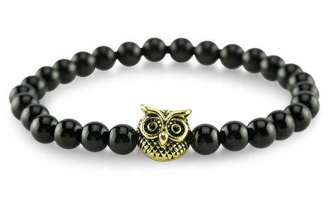 Gold Plated Owl Black Bracelet - Yesah