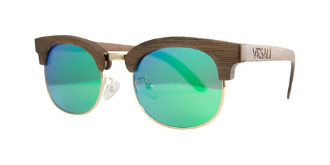 Yesah Clubmaster Wooden Sunglasses (Blue)