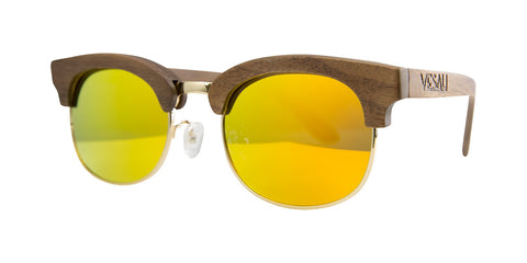 Yesah Clubmaster Wooden Sunglasses (Orange)