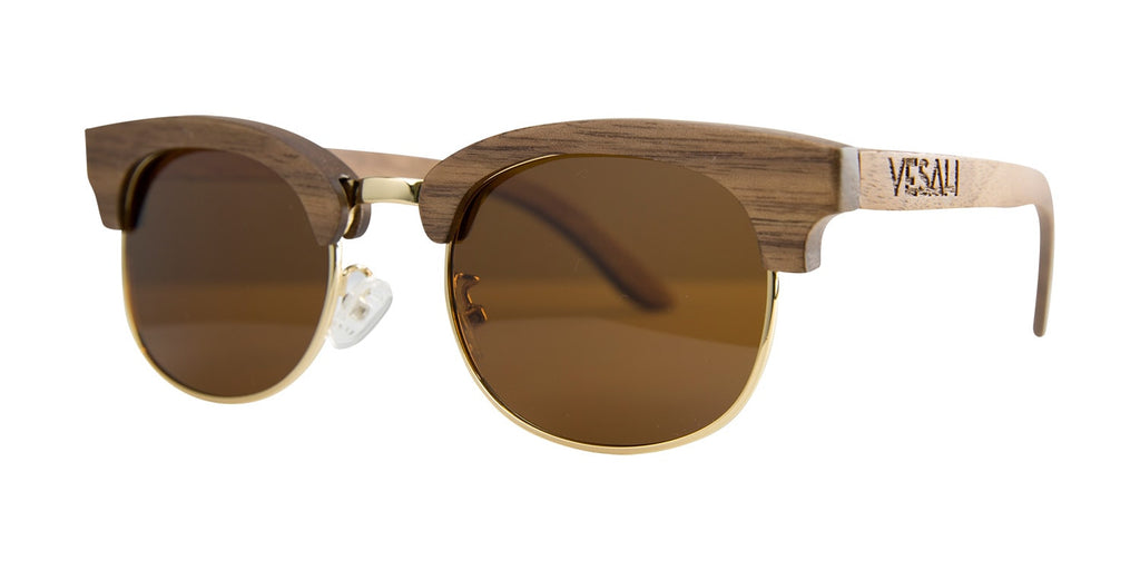 Yesah Clubmaster Wooden Sunglasses (Tea)