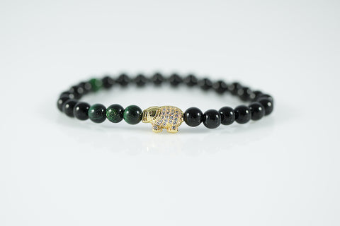 Gold Plated Elephant Black/Green Bracelet - Yesah