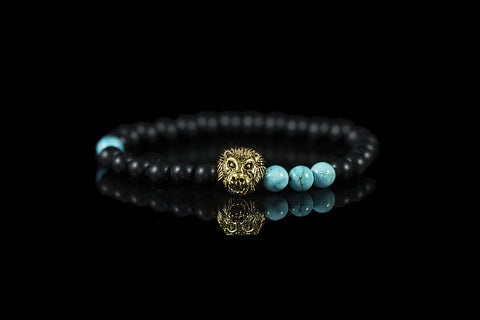 Gold Plated Lion Head Black/Turquoise 6mm Bracelet - Yesah