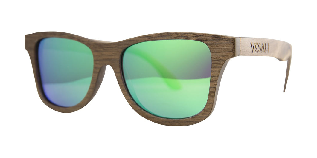 Yesah Walnut Wayfarer Wooden Sunglasses (Blue)