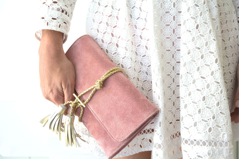 Pink Suede Clutch Boho Luxe