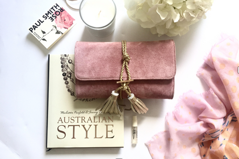 Pink Suede Clutch Leather Blush Pink