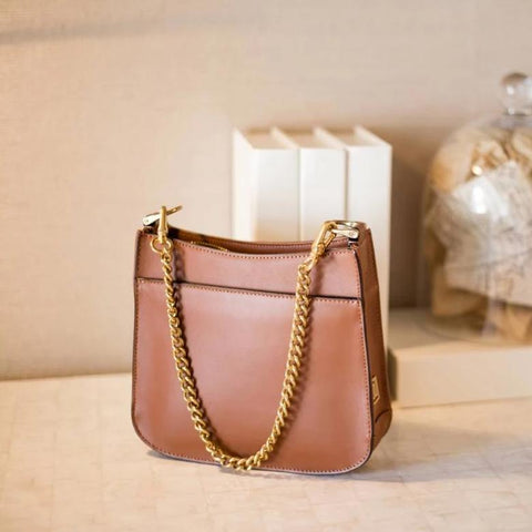Mini Tan Bag with Chain Handle