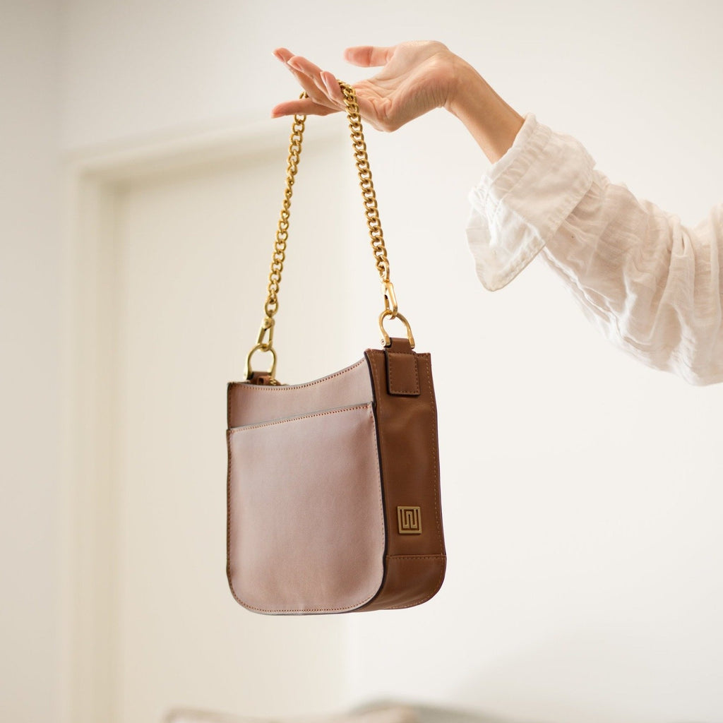 Tan Bag with Chain Handle