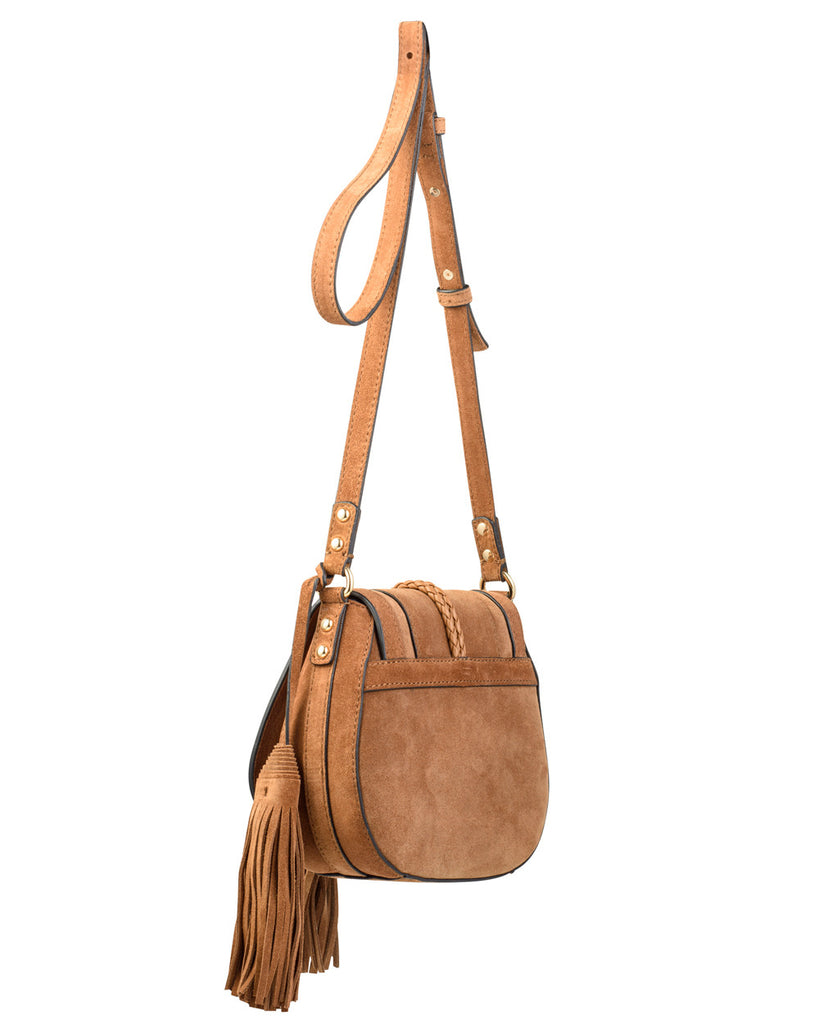 Crossbody Suede Handbag with Tassel Details
