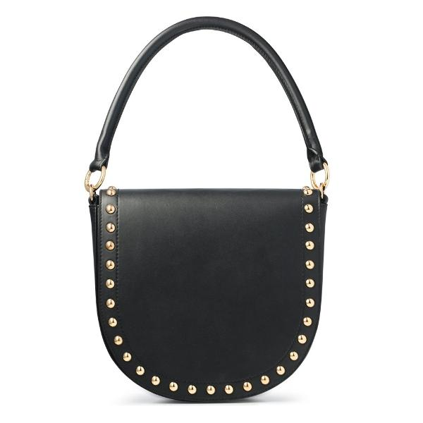 Studded Black Handbag with Top Handle