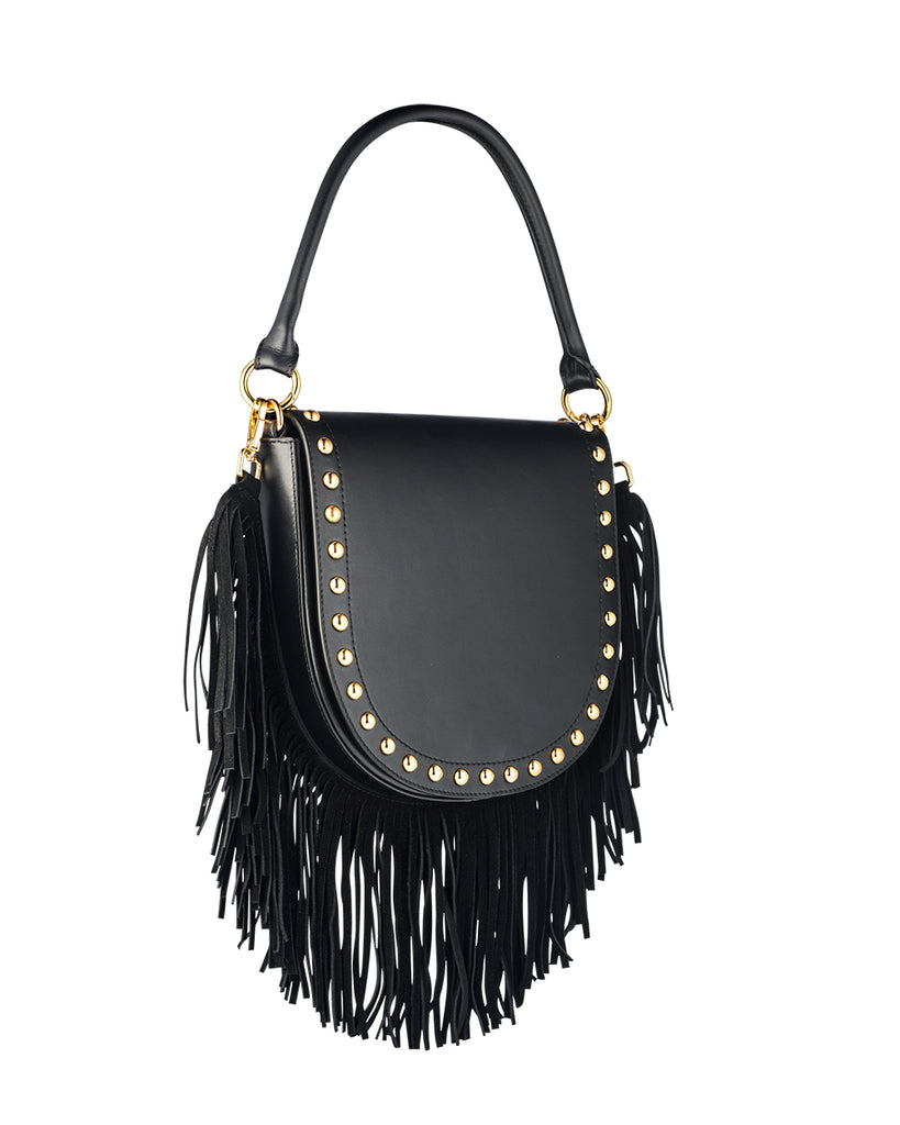 Four-ways Fringe Bag - Black
