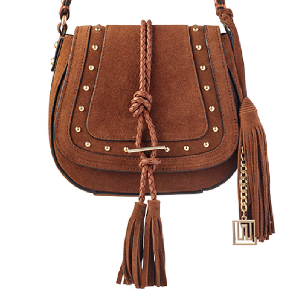 'Harriet' Saddle Bag - Studded Tan Suede