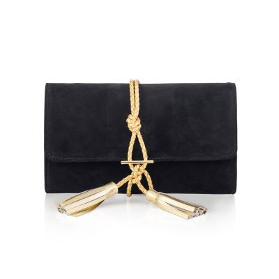Black Suede Clutch with Gold Tassel