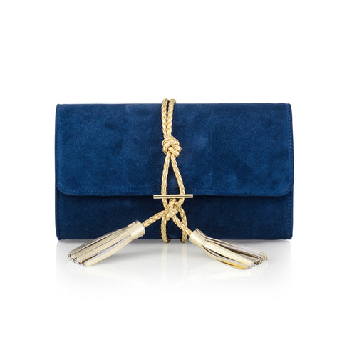 Blue Suede Clutch with Gold Braided Tassel
