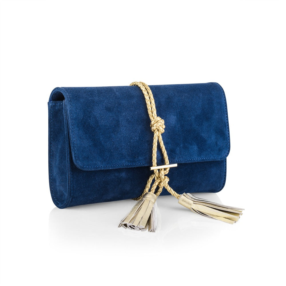 Evening Navy Clutch in Suede with Gold Braid Tassel