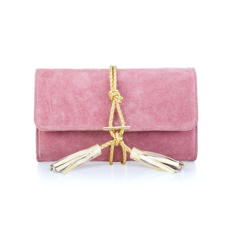 Pink Suede Clutch with Gold Tassel