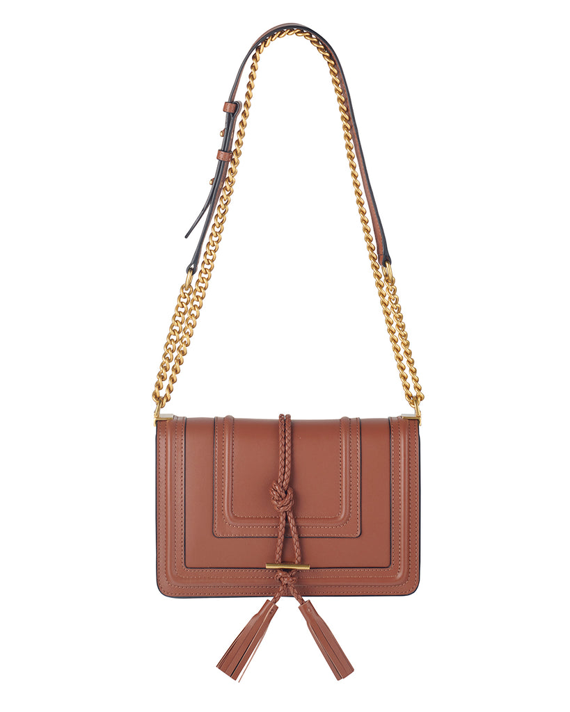 Tan Crossbody Bag with Chain Handle