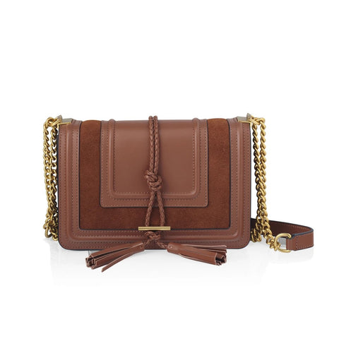Beau Crossbody Bag in Tan + Suede