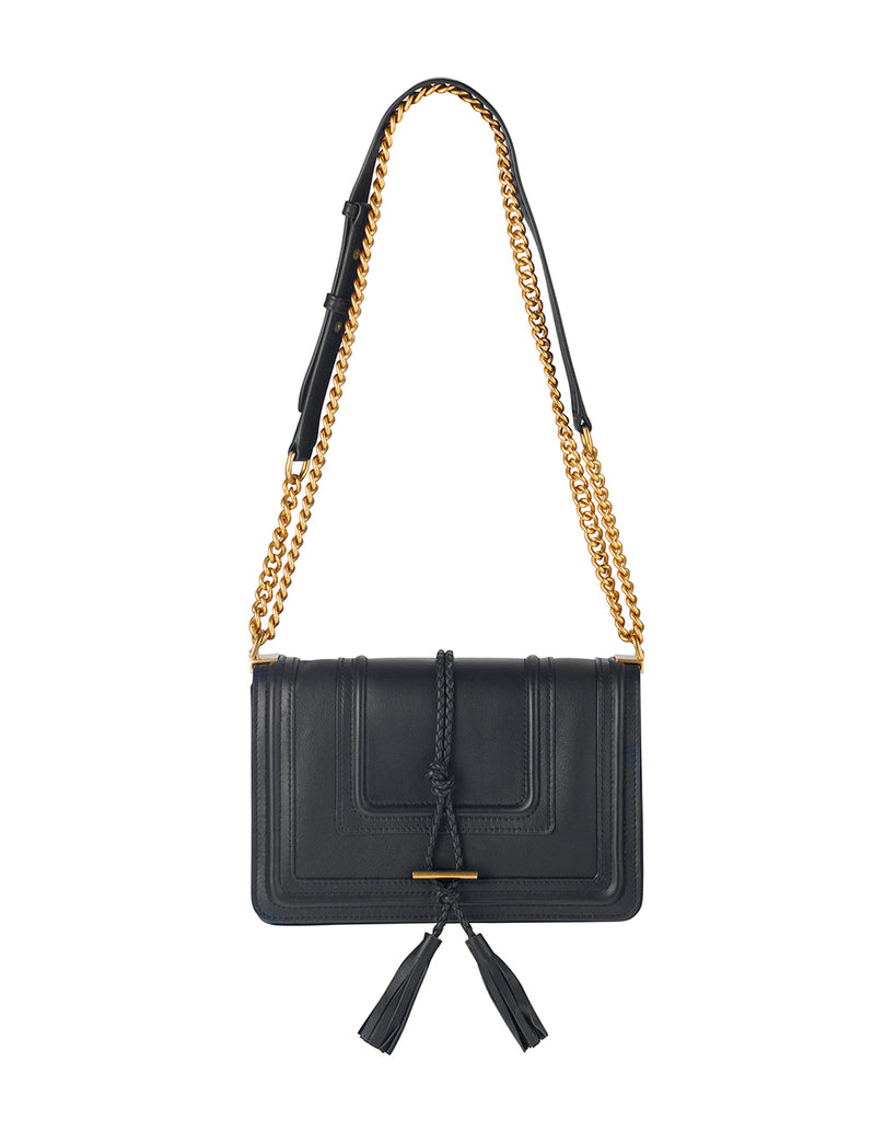 Braided Leather Bag in Black Leather
