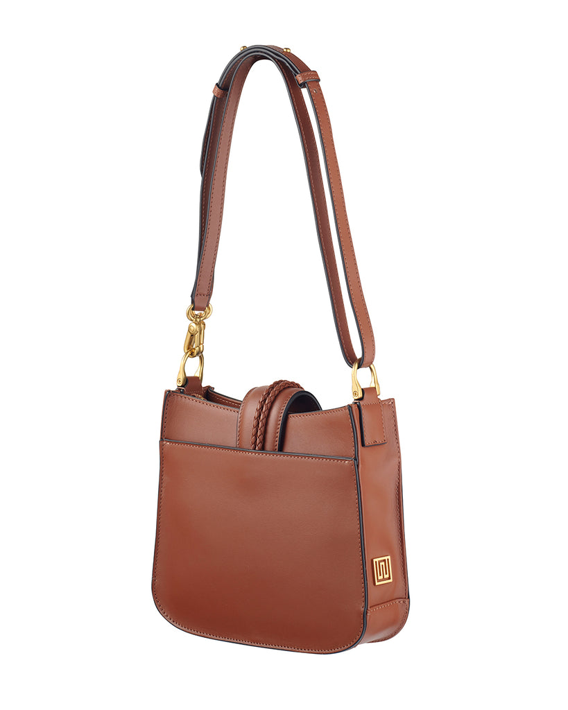 Small Tan Leather Handbag with Tassels