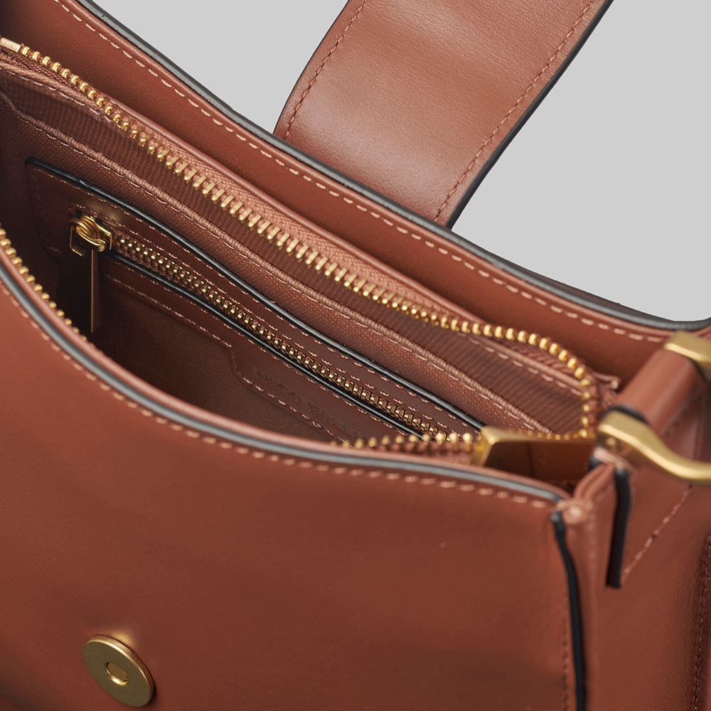 Tan Handbag Interior with Zips