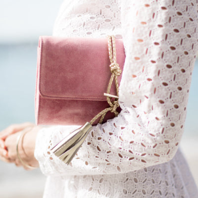 'Marni' Dust Pink Suede + Braided Leather Clutch