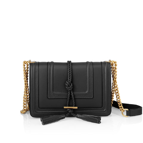 Black Leather Crossbody Handbag
