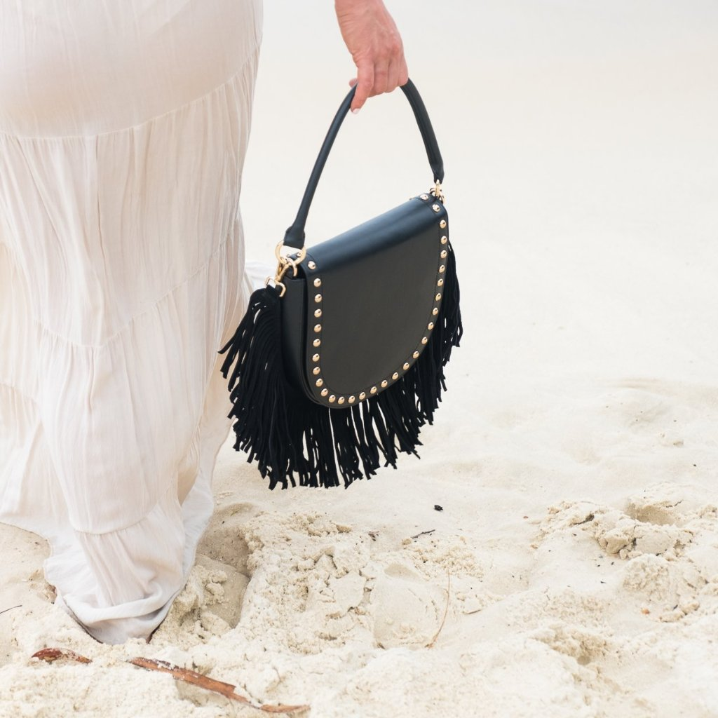 Handbag with Black Fringe